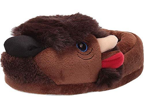 Stride Rite Boys' Fluffy Light-up Buffalo Slippers Little Kid, Brown, 7-8 Toddler