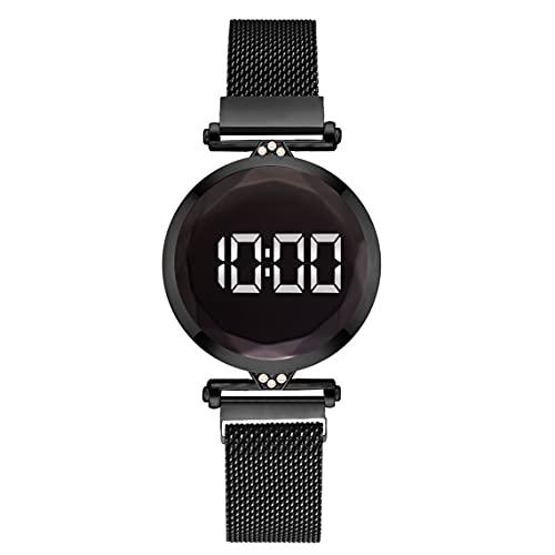 Tree-es-Life Práctico Lujo Led Mujeres Pulsera magnética Relojes Reloj de Vestir Digital Reloj de Pulsera de Cuarzo Reloj de Mujer Negro