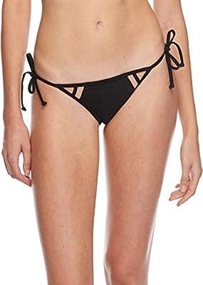 Body Glove Women's Iris Tie Side Bikini Bottom Swimsuit, Scandal Ribbed Black, X-Small