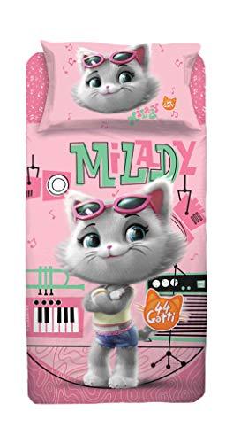 44 Gatti Completo Letto 1 Piazza Milady, 100% Cotone, Bianco e Rosa
