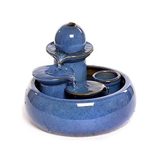 Hogar y cocina Fuentes de interior Living Water Wheel habitación cerámica Fuente de escritorio principal de la artesanía creativa Fuente viento Fish Tank humidificador de agua pequeños adornos atomiza