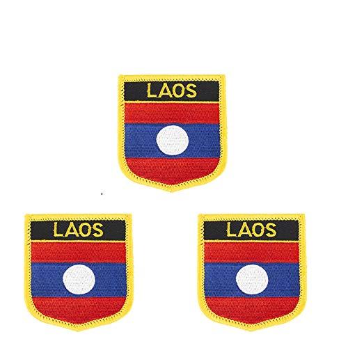 3 x bestickte Laos-Flagge zum Aufbügeln oder Aufnähen.