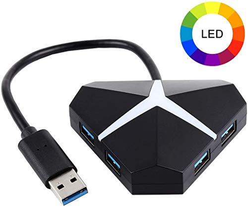 RAMPI Peripherals USB 3.0 LED RGB Gaming 4 Port USB Hub für PC, Laptop, Auto, PS4, Xbox mit Micro USB