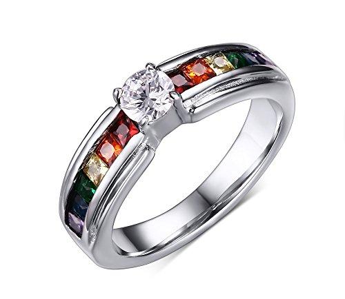 Vnox Edelstahl homosexueller lesbischer Kristalldiamant Schnitt Regenbogen Stolz Band Ring für Hochzeits Verpflichtungs Jahrestags,Größe 54 (17.2)