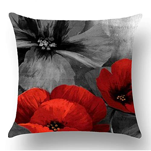 WePurchase Ink Painting Watercolor Red Grey Retro Poppy Flowers Mothers Day Decoration Cotton Linen Decorative Home Sofa Living Room Throw Pillow Case Cushion Cover Square 18x18 Inches
