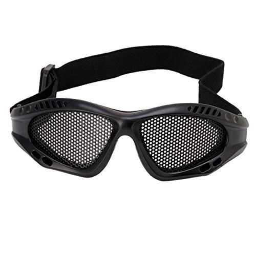 Lergo Tactical Motorrad Airsoft Augenschutzbrille Antibeschlag-Mesh Metall Brille Einheitsgröße Schwarz