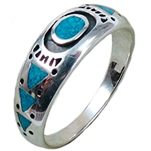 The Route 66 Shop Herren Ring Sterling Silber Chip Inlay Türkis Navajo Indianerschmuck Native Spring