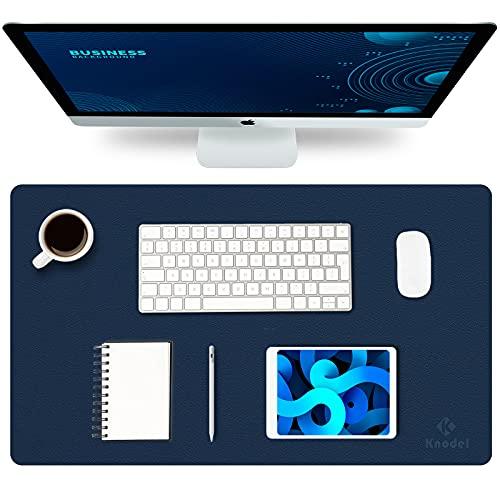Knodel Tappetino da Tavolo, Sottomano da Ufficio, Similpelle PU, Tappetino per Laptop, Tappetino da Scrittoio Impermeabile per Ufficio e Uso Domestico, Doppia Facciata (35cm x 60cm, Dark Blue)