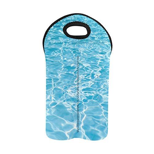 Bolsa de botella de vino Azul Verano Piscina fresca bajo el agua Bolsas de vino y portadores Portabotellas doble Bolsa portadora de licor Soporte de botella de vino de neopreno gru