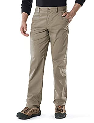 CQR Men's Hiking Pants, Water Repellent Outdoor Pants, Lightweight Stretch Cargo/Straight Work Pants, UPF 50+ Outdoor Apparel, Driflex Straight(txp420) - Tan, 36W x 32L