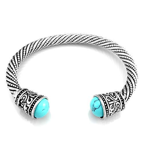 URBANTIMBER Wikinger Armreif Keltische Knoten mit türkisfarbenen Steinen - Silber