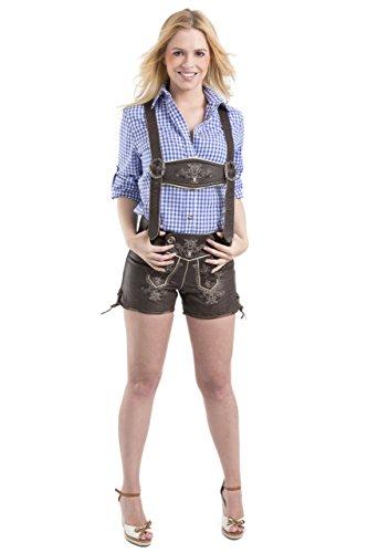 Damen Paulina Trachten Lederhose Wiesn - Vintage kurz - Büffelleder Trachtenlederhose - Hose (34, Dunkelbraun)