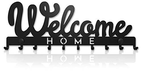 M-KeyCases Cuelga Llaves Pared Colgador Welcome Sweet Home (10 Ganchos) Guardallaves Decorativo Ganchos de Metal para Cocina, Puerta de Casa | Portallaves Perchas Organizador | Decoración Vintage