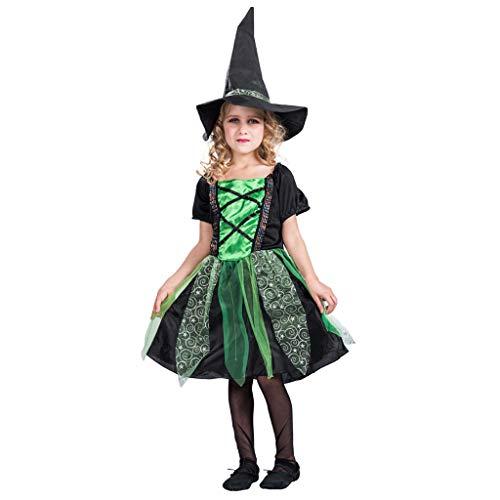 Vimukun Halloween Mädchen Kostüm Hexe Kleid für Kinder Karneval Fasching Party Schickes Cosplay Kleider mit Hexen Hut 4-12 Jahre Grün M