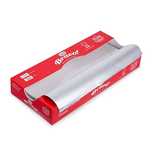 Pack of 200 Aluminum Silver Foil Sheets | Pre-Cut Heavy Duty Food Service & Kitchen Foil Wrap ~ Each Sheet Size is 27 x 30 cm ~ Great for Restaurants, Delis, Catering, Take Out Or at-Home