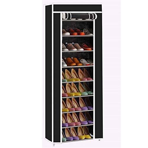 SHXITAYNB Zapatero no tejido, 10 capas de ahorro de habitación, 9 zapatos no tejidos, enrejado, color negro