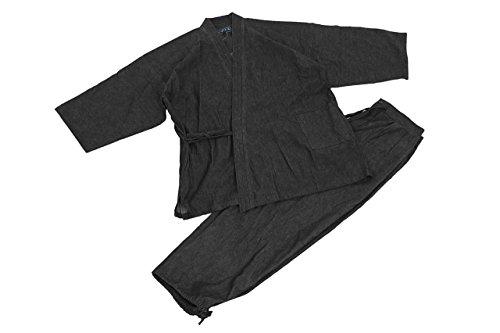 Edoten Arbeitskostüm, japanischer Kimono, Mönch, Arbeitskleidung, Denim-Jacke, Hose, Kleid, Mönchbekleidung Gr. Medium, Schwarz
