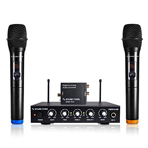 Sound Town UHF 16 Channels Karaoke Wireless Microphone System with Metal Mixer, 2 Handheld Microphones, Digital to Analog Audio Converter, Supports Smart TV (SPDIF Toslink Optical and Coaxial to RCA)