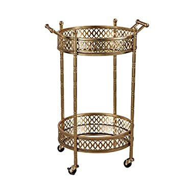 Sterling Home Decorative Banded Round Bar Cart