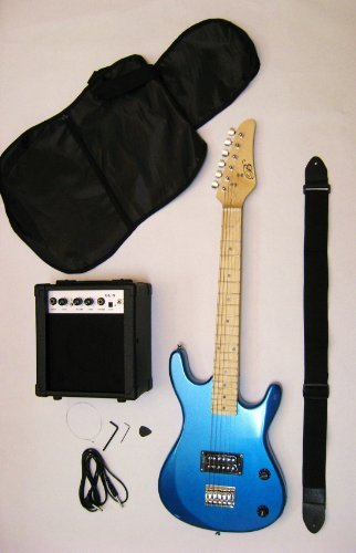 Metallic Blue Junior Kids Mini 3/4 Electric Guitar Amp Starter Pack, Guitar, Temolo, Amplifier, Gig Bag, Strap, Cable, & DirectlyCheap(TM) Translucent Blue Medium Guitar Pick