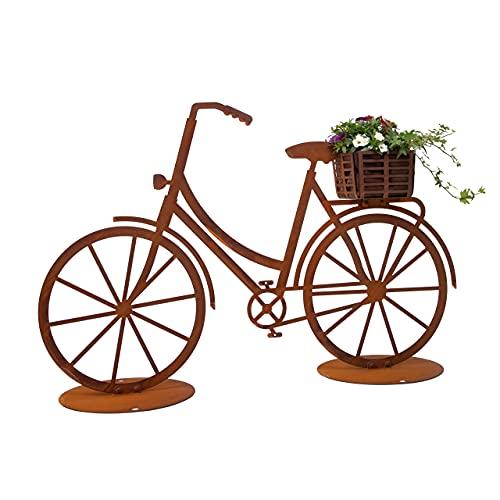Rerum & Consilium Fahrrad mit Korb Gartendeko   100 x 65 cm   2 mm Stahl in Edelrost
