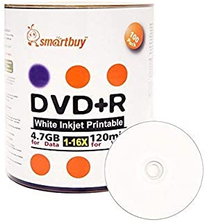 Smart Buy 100 Pack DVD+R 4.7gb 16x White Printable Inkjet Blank Media Record Disc, 100 Disc 100pk