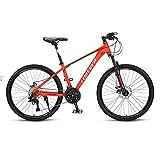 Bicicleta de montaña, Adultos Bicicleta De Montaña, Bicicleta 26 'ruedas De Aleación De Aluminio Marco De Aleación 27 Velocidad Bicicleta Compución Completer Bici Compución Dual Disco Fre(Color:rojo)