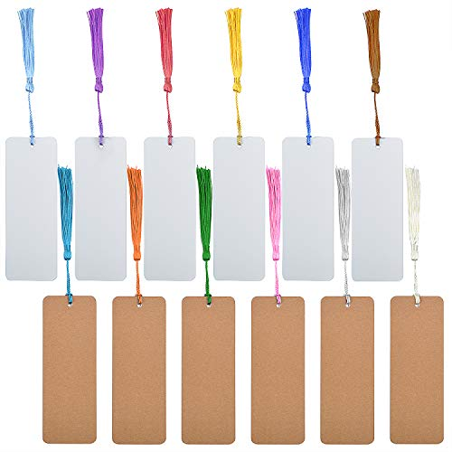 Aylifu Paper Bookmarks with Tassel, 24 Pieces Kraft Paper Cardstock Blank Bookmarks with 24 Pieces Colorful Tassels for DIY Projects and Gifts Tags - 5.5 x 2 inch (12 pcs White + 12 pcs Brown)