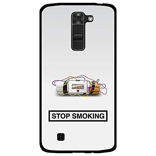 BJJ SHOP Funda Negra para [ LG K7 ], Carcasa de Silicona Flexible TPU, diseño : Fumar Mata, Dejar el vicio