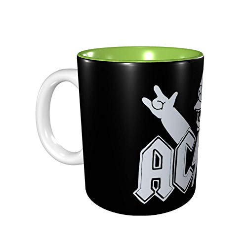 XCNGG Tazas de cerámica personalizadas Ac-Dc de 11 oz, taza de café con interior de color, apto para microondas y estante superior, apto para lavavajillas, verde