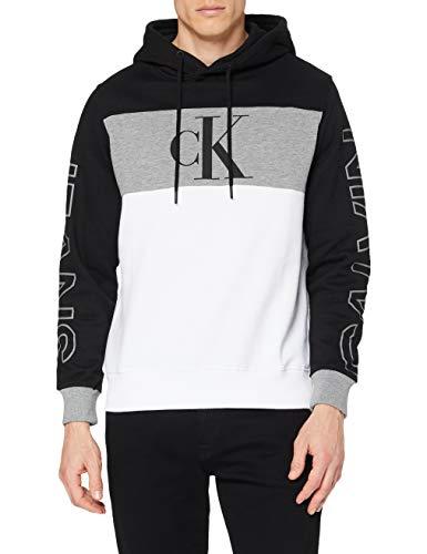 Calvin Klein Blocking Statement Logo Hoodie Felpa, CK Nero/Bianco, XL Uomo