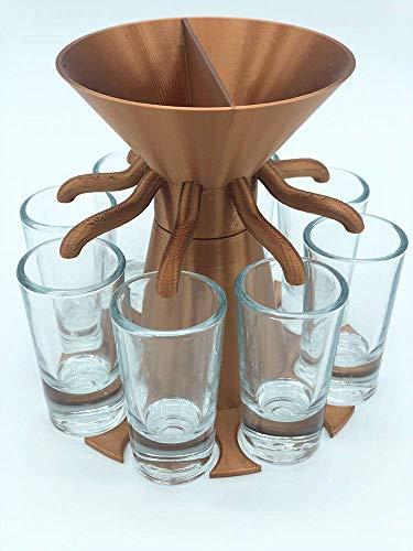 Schnapskarussell incl. 8 hochwertiger Schnapsgläser aus Glas, 7 verschiedene Farben, Schnapsverteiler