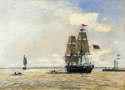 Jongkind Johan Berthold Noors zeeschip verlaten van de haven van Honfleur A3 doos Canvas Print