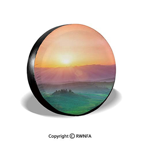 Mejor Spare Tire Cover,The Hills of Val D'orcia in Tuscany, Italy at Sunrise,for Jeep Trailer RV SUV Truck Camper Travel Trailer Accessories,14 Inch crítica 2020