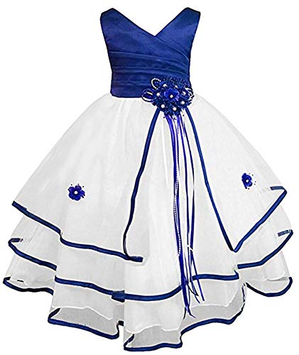 Free Matching Hair Wreath Little/Big Girls Communion Pageant Wedding Easter Flower Girl Dress