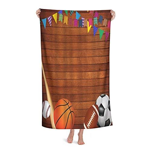 Grande Suave Ligero Microfibra Toalla de Baño Manta,Juegos de Mesa de Madera Antiguos Baloncesto,Hoja de Baño Toalla de Playa por la Familia Hotel Viaje Nadando Deportes,32' x 52'