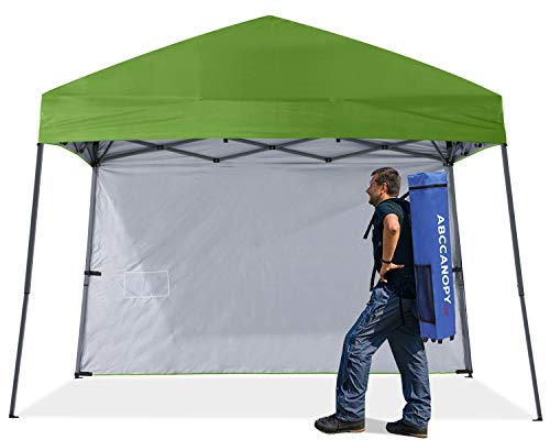 ABCCANOPY Outdoor Pop Up Canopy Beach Camping Canopy with 1 Sun Wall, Bonus Backpack Bag, Stakes and Ropes,Grass Green