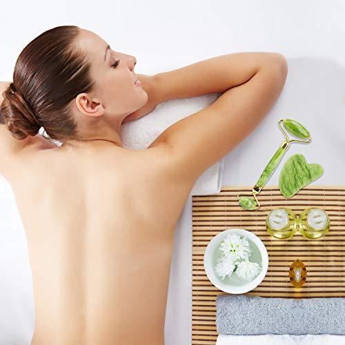Juego de rodillo de jade y raspador Gua Sha, kits de masaje facial, rodillo facial para reducir las arrugas, herramienta original de piedra de jade natural