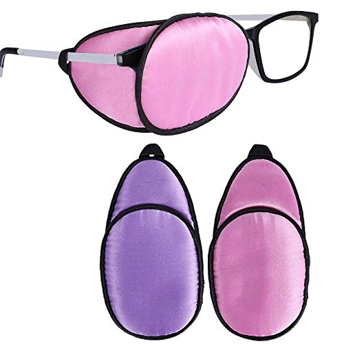 eZAKKA Eye Patches for Adults Kids Eye Patch for Glasses Silk Patch for Lazy Eye Amblyopia Strabismus and After Surgery (Purple + Pink)