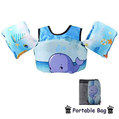 Elejolie Swim Life Jacket for Kids Children Life Vest Swimming Pool Swim Aids for Toddlers Learn to Swim 22-66lbs (Whale)