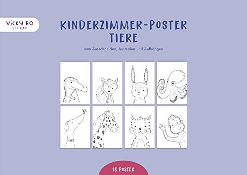 Kinderzimmer Poster - Tiere: 18 Zeichnungen zum Ausschneiden, Ausmalen und Aufhängen (Deko Wandbilder Din A4)
