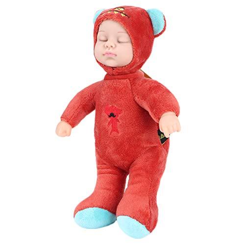 Livsliga barnleksaker, sovdocka, kvalitetsmaterial Härliga giftfria barn för julklapp Flickor och pojkar födelsedagspresenter(Cute bear red)