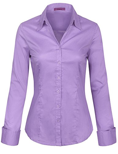KOGMO Womens Long Sleeve Button Down Shirts Office Work Blouse (S-3X)-S-Lilac