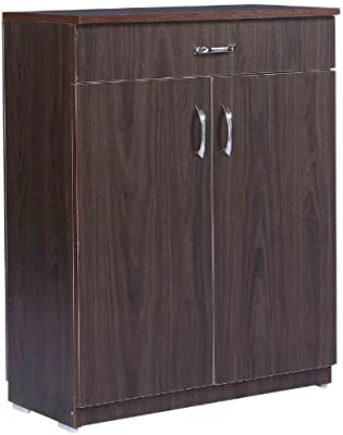 Shilpi Indian Premium Quality Teak Board Two Door & One Drawer Cabinet/Wooden Wardrobe for Living Room