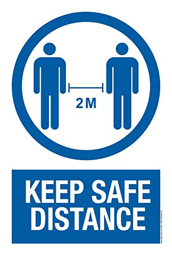 Cartel resistente PVC - KEEP SAFE DISTANCE - Señaletica COVID 19 - Señal de aviso - ideal para colgar y advertir IDIOMA: INGLES