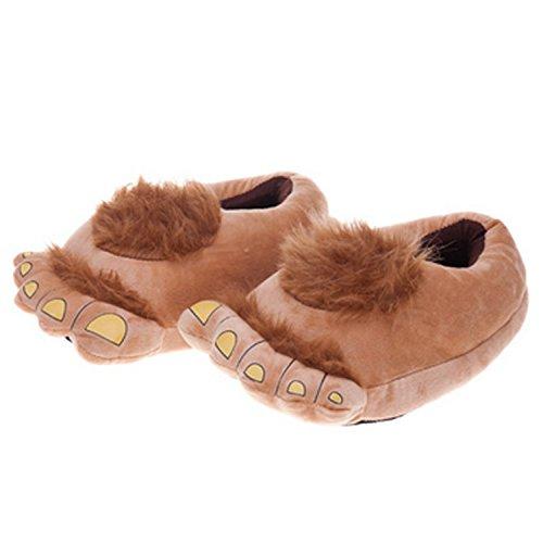 JLTPH Pantufas felpudas de monstro de aventura, confortáveis e inovadoras, pés de hobbit, chinelos de pelúcia para adultos quentes no inverno, Marrom, SizeL(US 9-10 / EUR 43-45)