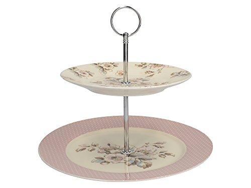 Katie Alice Cottage Flower vintage-inspirierte mehrfarbiger Porzellan-Kuchenständer mit zwei Ebenen