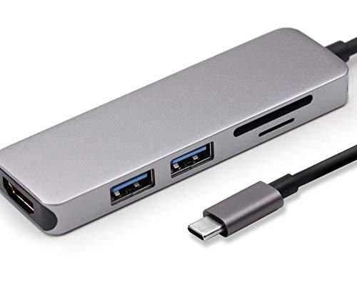 HaoYiShang Type C naar HDMI 4K +2X USB 3.0 HUB+ PD Opladen/SD TF-kaartlezer 4 in 1 converter Card Reader ZILVER