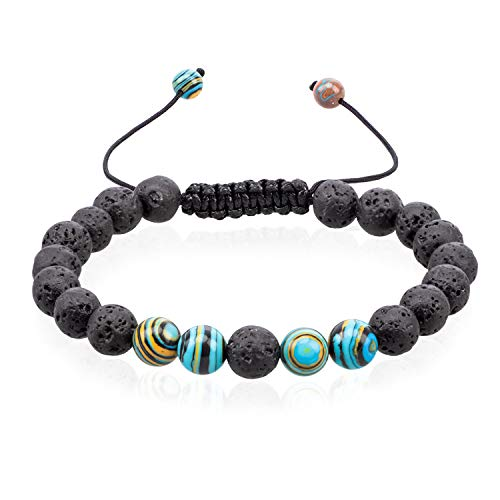 VLAWISE Anxiety Essential Oil Diffuser Bracelets for Depression-Stress Relief with Lava Stone,Aromatherapy,Healing Holistic Jewelry A3