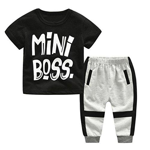 Jimmackey Neonato Bambino T-Shirt Stampa Lettera Camicia Cime + Casuale Pantaloni Abiti Set (Nero, 4 Anni)